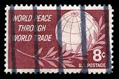 World Peace Through Trade Us Postage Stamp