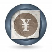 Dark Abstract Icon With Crumpled Paper And Yen Sign