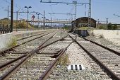 metal train rails, detail of railways in Spain