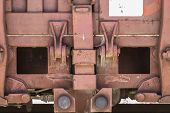 railway, old freight train, metal machinery details