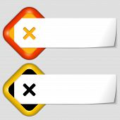 Set Of Two Icons With Paper On Note And Ban Mark