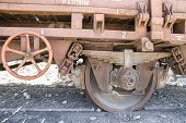 wheels, old freight train, metal machinery details
