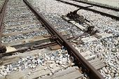 needle exchange, train rails, detail of railways in Spain