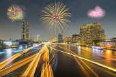 Fireworks At Bangkok City At Night Time, Hotel And Resident Area In The Capital Of Thailand