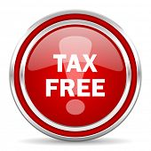 tax free red glossy icon