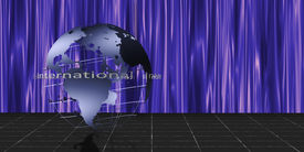 pic of world-globe  - Metallic blue earth sits on stage with text - JPG