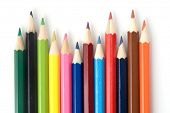 Set of color pencils on white isolated background