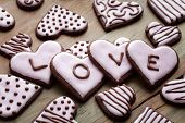 Pink heart shape cookies for Valentine�?�´s Day