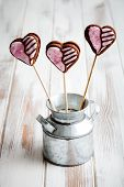 Chocolate filled heart cookie pops for Valentine�?�´s Day