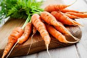 Bunch of fresh carrots on wooden table