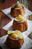 Bundt cake with lemon curd and lime slices