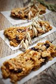 Homemade granola bars with fresh muesli and raisins