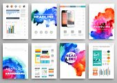 Set of Vector Poster Templates with Watercolor Paint Splash. Abstract Aquarelle Background for Business Flyers, Posters and Placards. Mobile Technologies Concept. Flat Style Web and Infographic Icons.