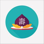 Chinese New Year Peaches Of Immortality Flat Icon With Long Shadow