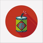 Chinese New Year Flat Icon, Word Fu, Chinese Festival Couplets With Firecrackers