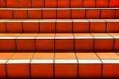 Orange Tiled Stairs Texture Going Upwards