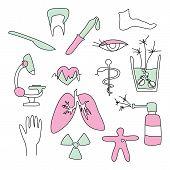 set of cartoon medical signs