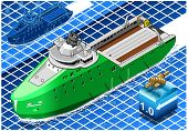 Isometric Ship Breaking The Ice In Navigation
