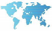 World Map Of Blue Rounded Lines
