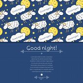 Seamless vector pattern with images cute sheep on background night sky with moon and wish good night