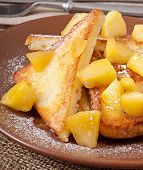 stock photo of french toast  - French toast with caramelized apples for breakfast - JPG