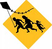 image of deportation  - The Famous Running Immigrant Family Flying a Kite Sign - JPG