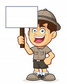 picture of boy scout  - Vector clipart picture of a Boy Scout or Explorer Boy cartoon character Holding a Blank Sign - JPG