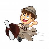 picture of boy scout  - Vector clipart picture of a Boy Scout or Explorer Boy cartoon character Riding Airplane - JPG