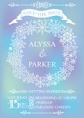 Winter wedding save date card. Snowflakes wreath
