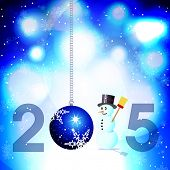 Abstract blue background with snowman and Christmas bauble for year 2015