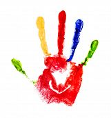 Red Handprint With Colored Fingers On An Isolated White Background