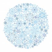 Snowflake circle on white background