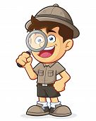 image of boy scout  - Vector clipart picture of a Boy Scout or Explorer Boy cartoon character with Magnifying Glass - JPG