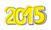 New Year 2015 hand drawn vector sign isolated
