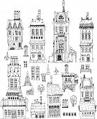 Abstract city buildings set, Sketch collection