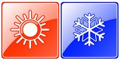 Season Buttons With Snowflake And Sun
