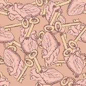 Cute Vector Keys And Hearts Seamless Pattern