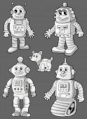 Black and white robots on grey - eps10 vector illustration.