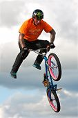 BMX Rider Executes Midair Stunt At State Fair