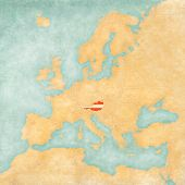 Map Of Europe - Austria (vintage Series)