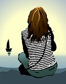 image of grieving  - The lonely girl looking at the sea - JPG