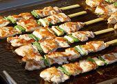 Grilled sticks with marinated chicken