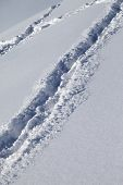 Background Of Off-piste Ski Slope With New-fallen Snow