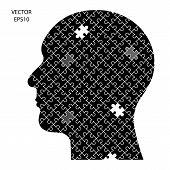 Creative black puzzle head