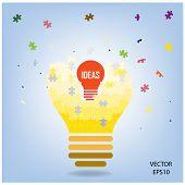 Creative puzzle light bulb symbol