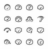 stock photo of speedometer  - Simple Set of Speedometer Related Vector Icons for Your Design - JPG