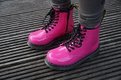 picture of skinheads  - Nice pink alternative girl or woman Military skinhead shoes  - JPG