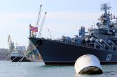Warships in the Black Sea in the Crimean port of Sevastopol, Ukraine