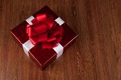 One Large Red Gift Box Top View