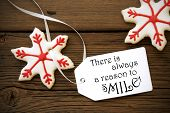 Red Christmas Star Cookies With Life Quote On It